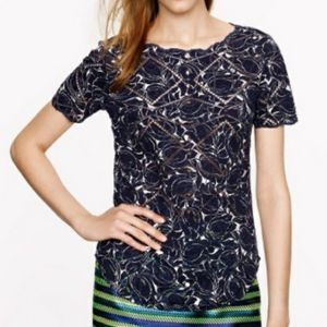 J. Crew Cut Out Top Navy White XS
